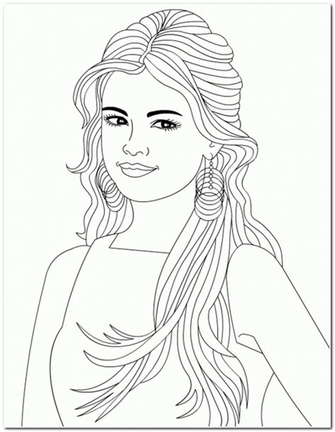 coloring pages of people s hair coloring pages of selena gomez coloring home
