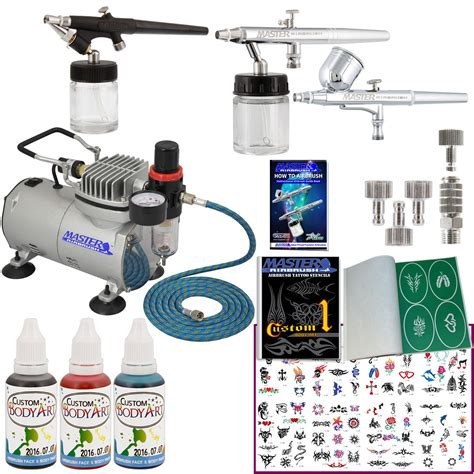 airbrush tattoo kit 3 airbrush temporary system air compressor kit