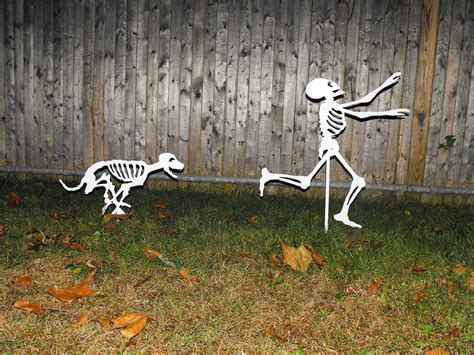 halloween themes with dogs halloween yard skeletons dog skeletons chasing by