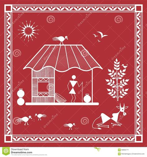 Home Design Plans Indian Style indian tribal painting warli painting of a house stock