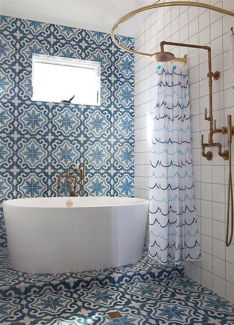 cement tile bathroom blue mosaic cement shower tiles mediterranean bathroom