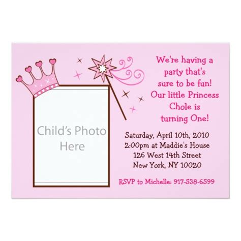 customizable invitation templates princess crown custom photo birthday invitations zazzle