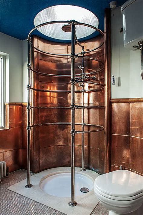 Steampunk Decorations The Bathroom Is Clad With Copper Sheets And The Shower