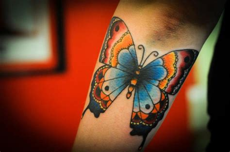 Arm New School Butterfly Tattoo By Left Hand Path School Butterfly Tattoos