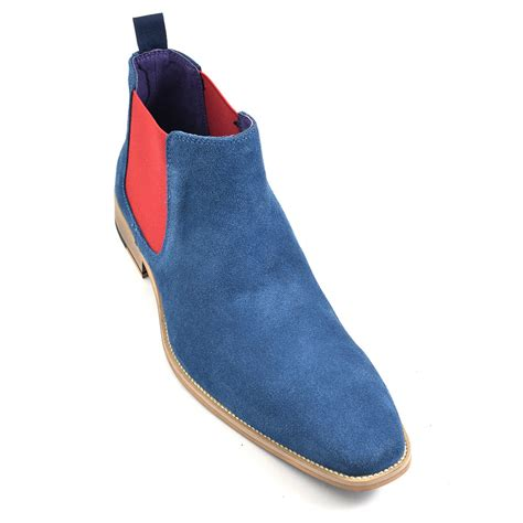 mens blue boots buy mens blue and suede chelsea boots gucinari