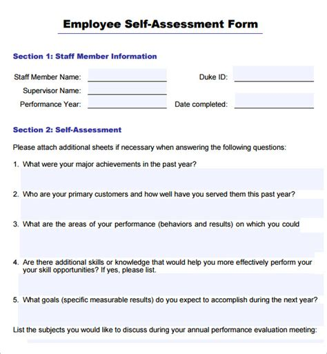 self evaluation template for employees sle employee self evaluation form 16 free documents