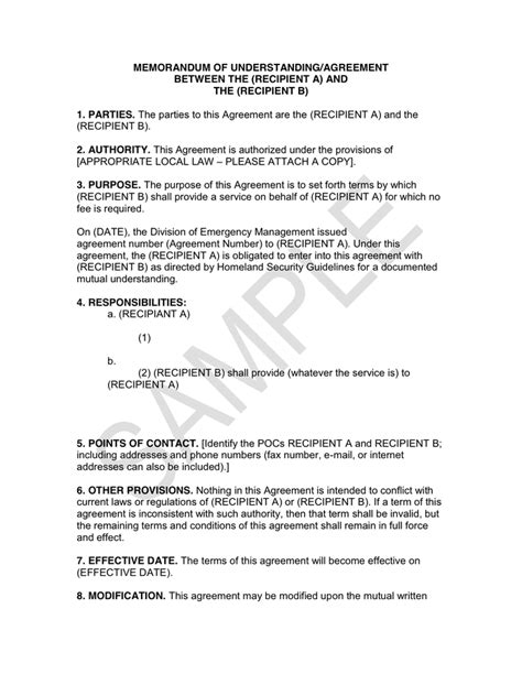 memorandum of understanding agreement in word and pdf formats