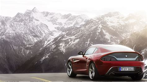 bmw mountain bmw zagato coupe concept back pose near mountains wallpaper