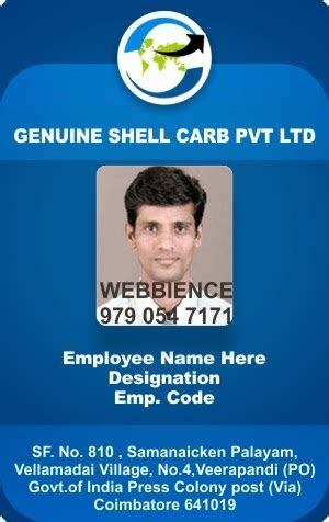 employee id card template webbience