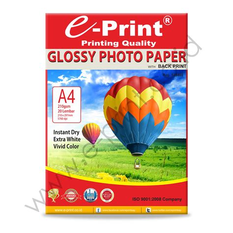 Glossy Photo Paper A4 210 Gsm Isi 20 glossy photo paper with back print a4 210gsm e print