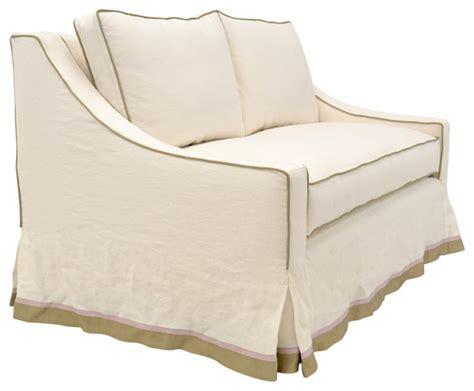 sofa skirt styles slipcovered loveseat with french waterfall skirt beach