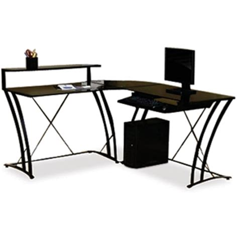 L Shaped Studio Desk Studio Rta 408111 Deco L Shaped Desk Black At Tigerdirect