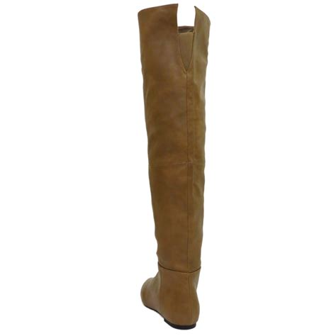 brown knee thigh high flat boho pixie