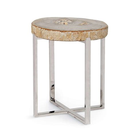 accent table small natural artistry accent table with stainless steel legs