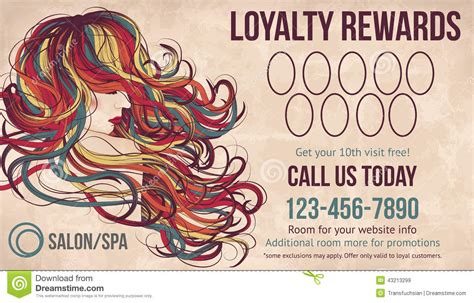 salon loyalty rewards card template stock vector image