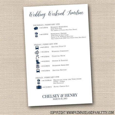 Wedding Weekend Timeline Template by Wedding Weekend Itineraries Printed Wedding Weekend