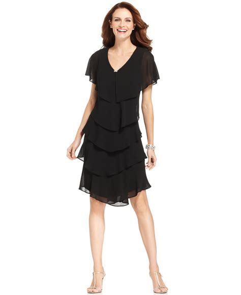 Cocktail Party Pant Suits - patra petite tiered dress in black lyst