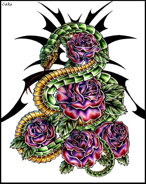 tattoos of snakes and roses snake and roses design by cakekaiser on deviantart