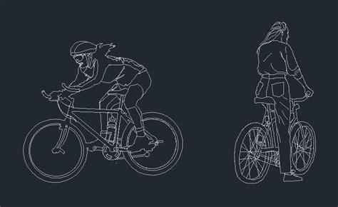 pepole ride sport bicycle  dwg block  autocad