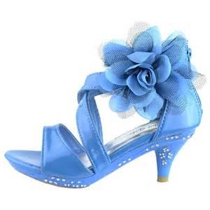 Kids dress sandals strappy patent leather flower high heel girls blue