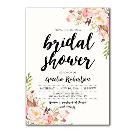 bridal shower free pdf editable pdf bridal shower invitation diy watercolor