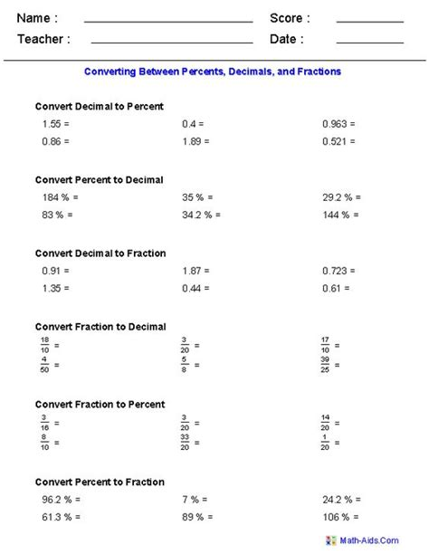 converting between percents decimals and fractions