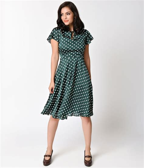 8 Advantages Of Vintage Style by Unique Vintage 1940s Style Emerald Ivory Polka Dot