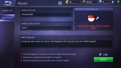 nama squad mobile legend keren cara membuat squad mobile legend gratis