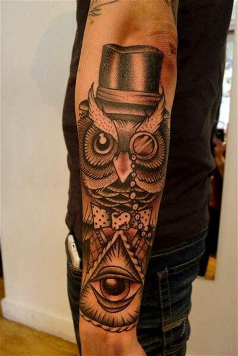owl tattoo hat top hat owl tattoos pinterest