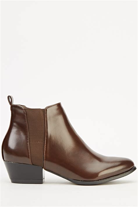 faux leather contrast ankle boots just 163 5
