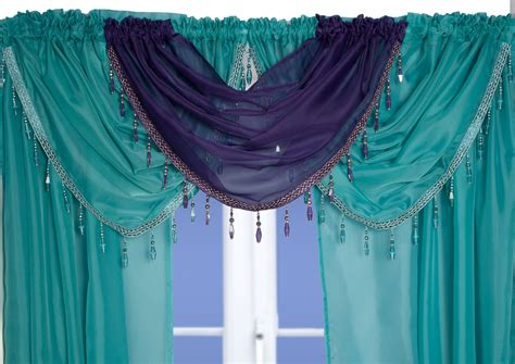 Teal Swag Curtains Teal Beaded Voile Swags And Tails Nets And Curtains