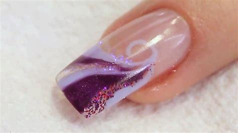 Tutorial Nail Art Gel Uv   glitter and uv gel swirl nail design tutorial video by