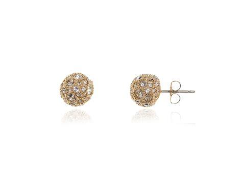 Pom Pom Kertas Uk 9cm cachet swarovski pom pom m pierced earrings gold