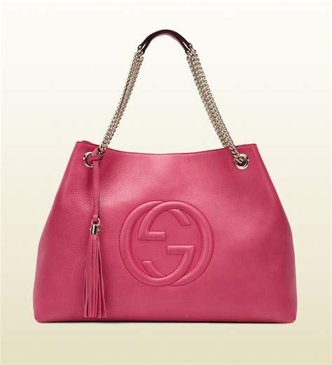 gucci soho shocking pink leather shoulder bag in pink lyst