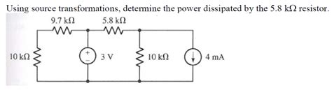 determine the power dissipated by the 40 w resistor in the circuit shown using source transformations determine the power chegg