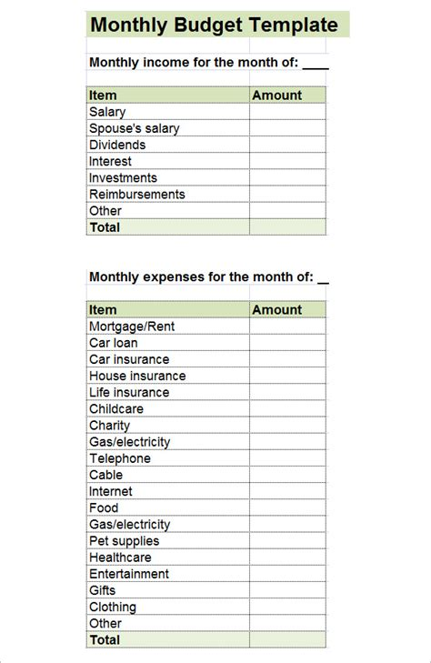 10 Sle Monthly Budget Templates Sle Templates Printable Monthly Budget Template