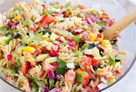 healthy rainbow pasta salad