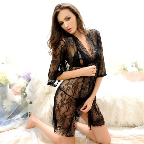 Premium Pijamas Gstring Set Ungu 3pcs womens nightdress set nightdress g string coat robe sleepwear high quality