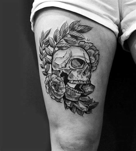 skull and rose tattoo for men 70 thigh tattoos for manly ink designs