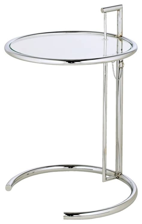 Glass And Chrome Side Table Eileen Grey Chrome And Glass Accent Table Contemporary Side Tables And End Tables By