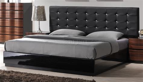 black tufted bed brenda modern bedroom w black tufted leatherette headboard