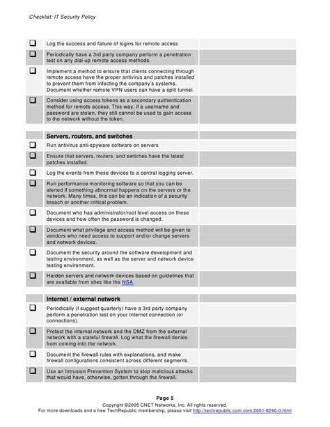 access policy template security policy checklist