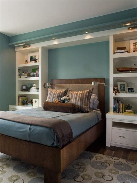 bedroom shelving units built in bookshelves nightstands around bed decor ideas