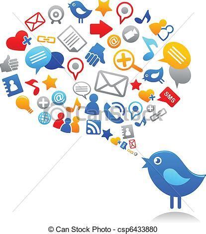 le si鑒e social vektor clipart blaues medien sozial vogel