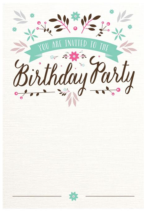 printable birthday invitations for 14 year olds fresh flat floral free printable birthday invitation