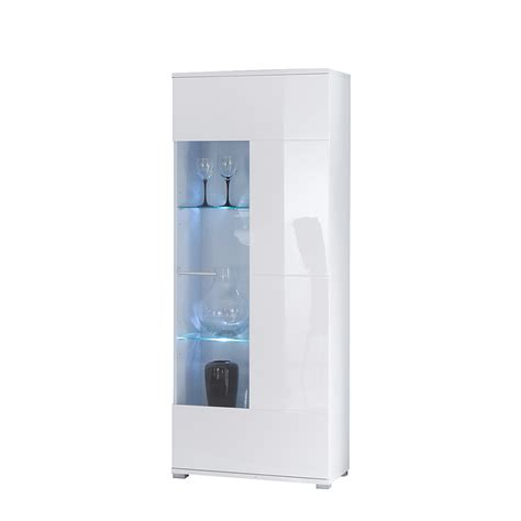 vitrine wei 223 hochglanz glas vitrinenschrank hochschrank - Hochschrank Wohnzimmer