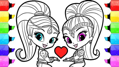draw and color shimmer and shine coloring pages how to draw and color