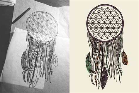 geometric dreamcatcher tattoo integrity flower of life jnonymous