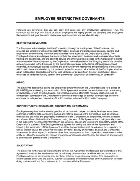 employee handbook template canada restrictive covenants for employment agreements template
