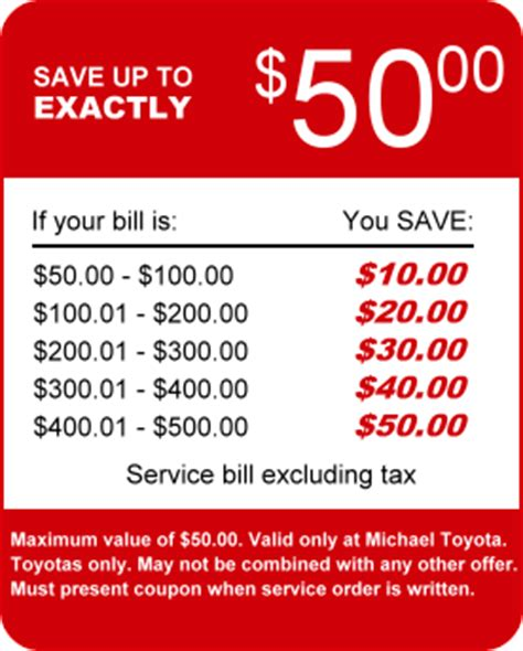 Toyota Discount Michael Toyota Service Coupons Specials For Fresno